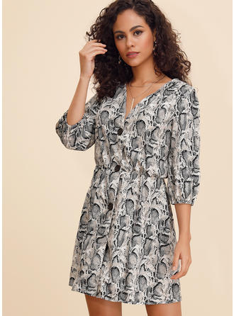 Animal Print Long Sleeves A-line Above Knee Casual/Vacation Dresses