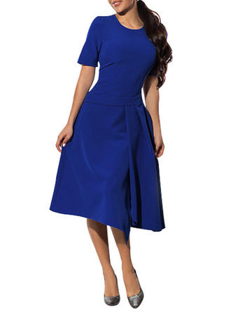 Solid Round Neck Midi A-line Dress