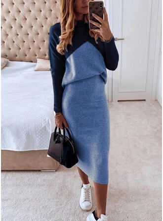 Color Block Long Sleeves Bodycon Knee Length Elegant Pencil Dresses