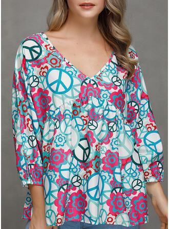 Print V-Neck Long Sleeves Casual Elegant Blouses (1003265409)
