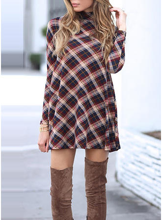 Plaid High Neck Above Knee Shift Dress