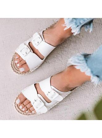 Frauen PU Flascher Absatz Sandalen Flache Schuhe mit Schnalle Schuhe