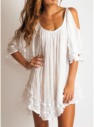 Solid 1/2 Sleeves/Cold Shoulder Sleeve Shift Above Knee Little Black/Casual/Elegant Dresses