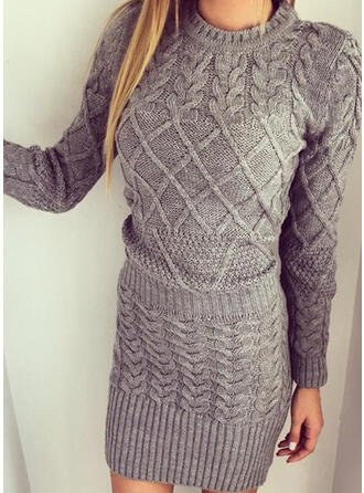 Solid Cable-knit Round Neck Casual Long Sweater Dress