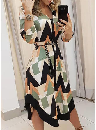 Geometric Print 3/4 Sleeves A-line Asymmetrical Casual Dresses