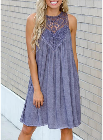 Lace/Solid Sleeveless Shift Knee Length Casual/Elegant Dresses