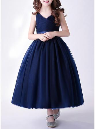 Girls V Neck Solid Party Flower Girl Dress