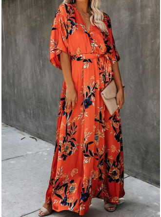 Print/Floral 1/2 Sleeves A-line Casual Maxi Dresses