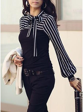 Patchwork Round Neck Long Sleeves Casual Elegant Blouses