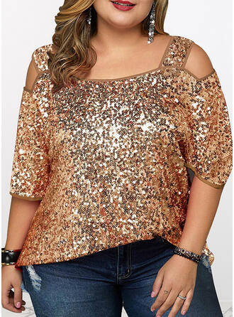 Sequins Cold Shoulder 3/4 Sleeves Sexy Plus Size Blouses