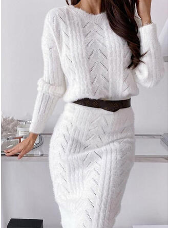 Solid Chunky knit Round Neck Sweater Dress