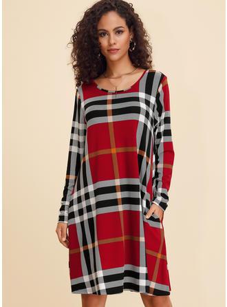 Plaid Long Sleeves Shift Knee Length Casual Dresses