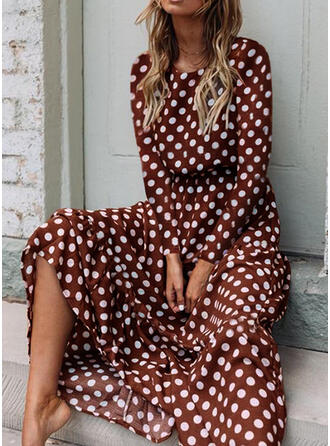 PolkaDot Long Sleeves A-line Casual Midi Dresses