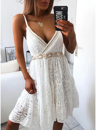 Lace/Sequins/Solid Sleeveless A-line Knee Length Casual/Vacation Dresses
