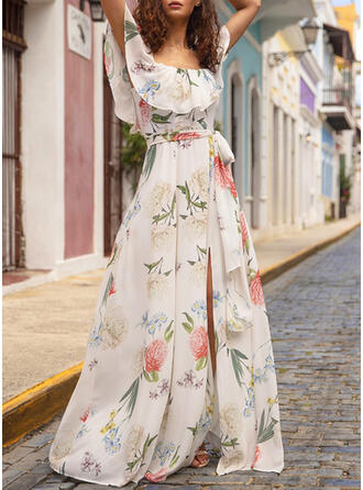 Print/Floral Short Sleeves A-line Party/Elegant/Vacation Maxi Dresses