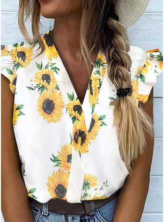 Sunflower Print V-Neck Cap Sleeve Button Up Casual Blouses