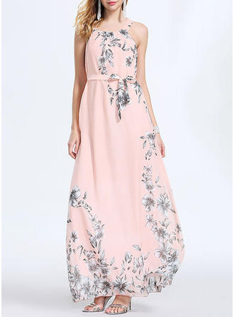 Polyester With Stitching/Print Maxi Dress