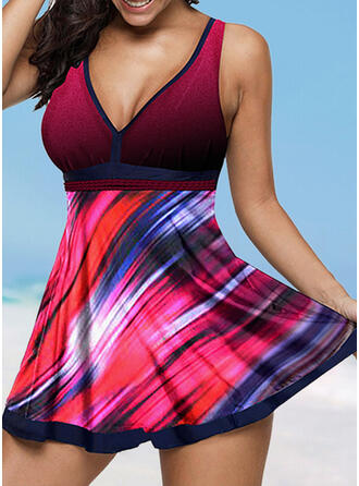 Splice color Strap V-Neck Plus Size Swimdresses Swimsuits