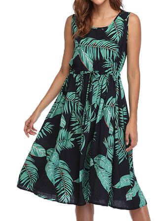 Print Sleeveless A-line Knee Length Casual Dresses