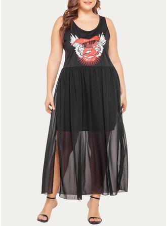 Print Sleeveless A-line Maxi Casual Dresses