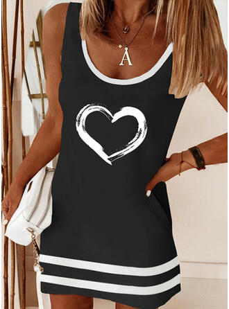 Print/Striped/Heart Sleeveless Shift Above Knee Casual Tank Dresses