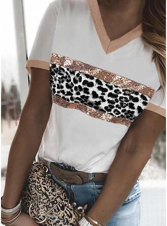 Leopard Trykk V-hals Kortermer T-skjorter