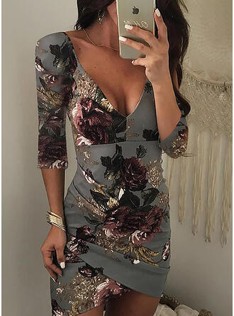 Print/Floral 3/4 Sleeves Bodycon Above Knee Sexy/Party Dresses
