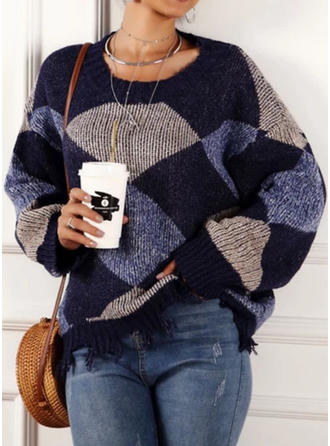 Color Block Pocket Round Neck Sweaters