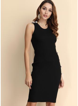 Sólido Sin mangas Ajustado Hasta la Rodilla Pequeños Negros/Casual Vestidos