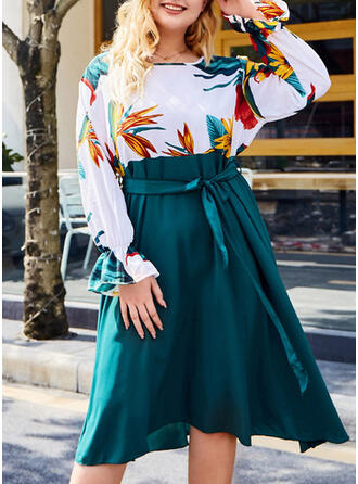 Print/Floral Long Sleeves A-line Casual/Plus Size Midi Dresses