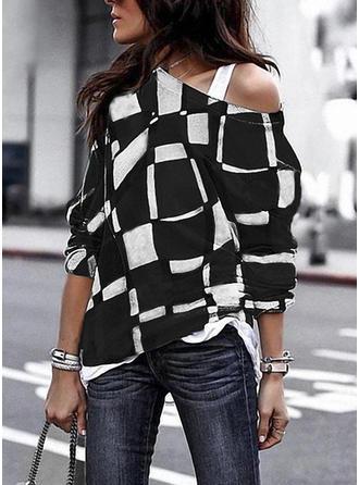 Bawełna Na jedno ramię Wydrukować Długie rękawy Nieformalny Bluzki