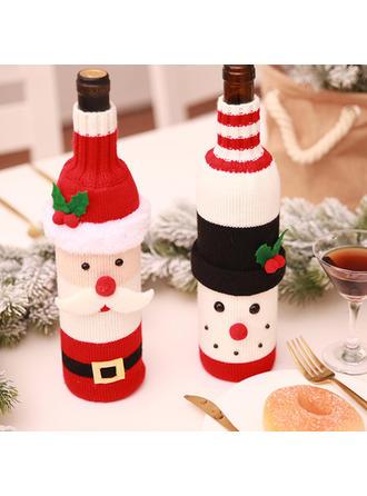 Feliz Navidad Monigote de nieve Papa Noel Tejido Tapa de la botella