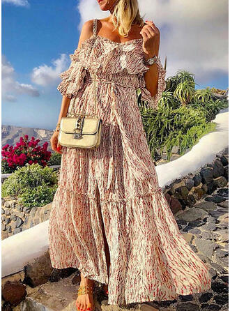 Print/Floral 1/2 Sleeves/Cold Shoulder Sleeve A-line Casual/Elegant/Vacation Maxi Dresses