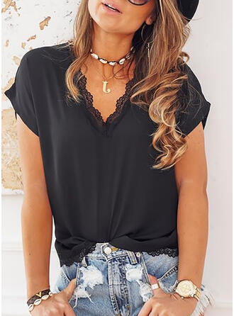 Solid Lace V-Neck Short Sleeves Casual T-shirts