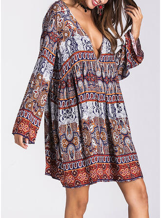Print Long Sleeves A-line Above Knee Casual/Boho/Vacation Dresses