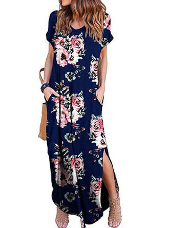 Print/Floral Short Sleeves Shift Casual/Boho/Vacation Maxi Dresses
