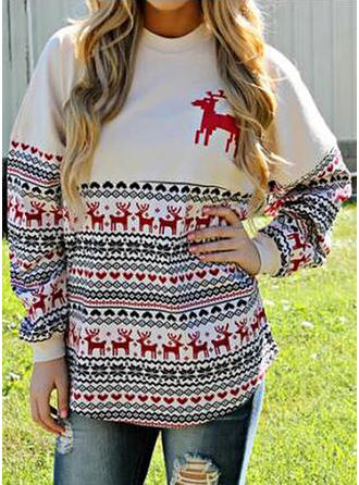 Print Graphic Round Neck Sweaters