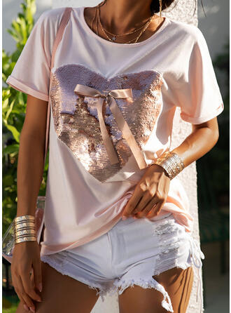 Heart Sequins Round Neck Short Sleeves T-shirts