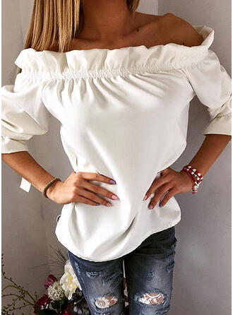 Solide Off the Shoulder 3/4 Mouwen Casual Pailletten Blouses