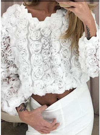 Sólido Floral Cuello redondo Manga Larga Casual Elegante Blusas