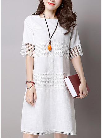 Hollow Round Neck Above Knee Shift Dress