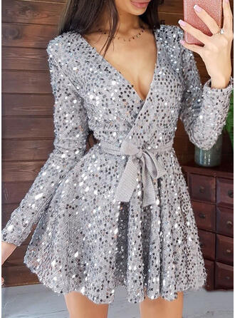 Sequins/Solid Long Sleeves A-line Above Knee Sexy/Party Dresses