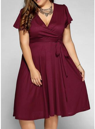 Solid Short Sleeves A-line Knee Length Little Black/Casual/Elegant/Plus Size Dresses