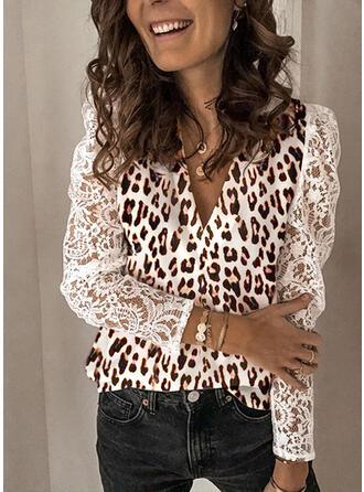 Pizzo leopardo Scollatura a V Puff Sleeve Maniche lunghe Casuale Camicie