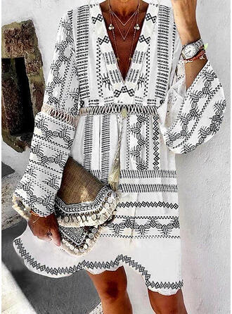 Print Long Sleeves/Flare Sleeves A-line Above Knee Casual/Boho/Vacation Dresses