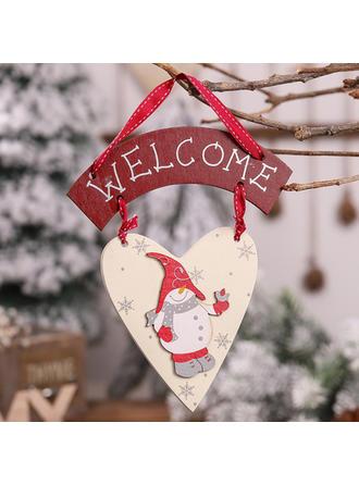 Feliz Navidad Monigote de nieve Decoración navideña De madera Adornos colgantes de árboles