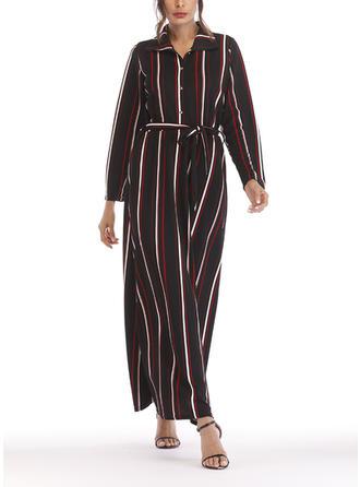 Striped Shirt collar Maxi A-line Dress