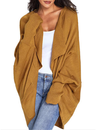 Polyester Knitting Long Sleeves Plain Wide-Waisted Coats