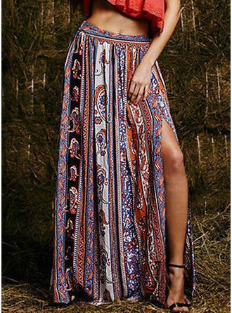 Bomull Print Maxi slitna kjolar