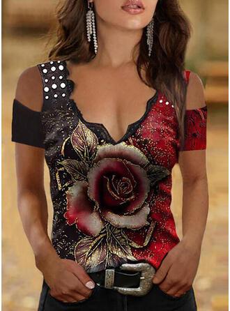 Druck Blumen Spitze Schulterfrei Kurze Ärmel Lässige Kleidung Blusen
